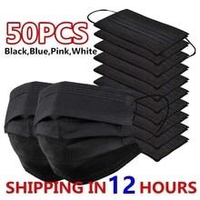 50 pçs máscara descartável máscara facial preto nonwove 3 camada máscara boca filtro anti poeira respirável máscaras adultas protetoras navios rápidos