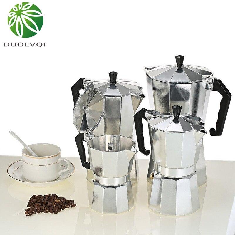 Duolvqi Alumínio Cafeteira Moka Cafeteira Expresso Cafeteira moka Pote Coador Prático Durável 50/100/150/ 300/450/600ml