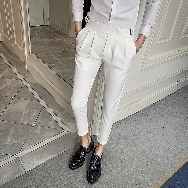 Korean Slim Fit Men Pants Dress All Match Simple Ankle Length Business Formal Wear Trousers Men Streetwear Office Pants Men 34
