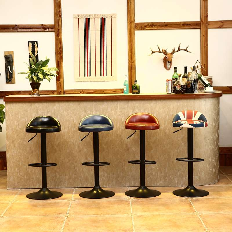 Vintage Retro Bar Chair Leather Kitchen Bar Pub Pedal Stools Swivel Simple High Dining Chair Home Footrest Chair 5 Colors