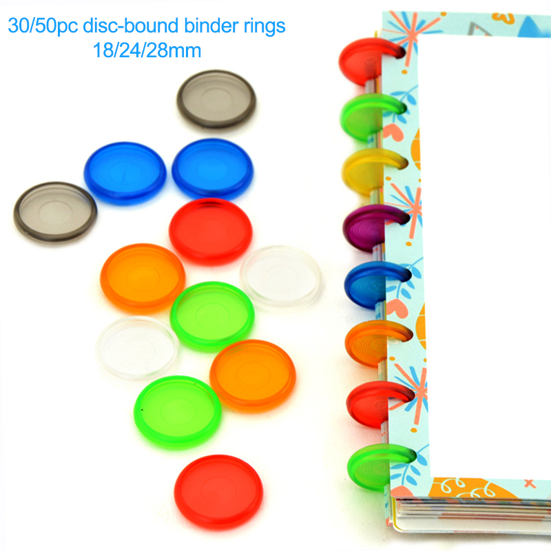 Fromthenon Color Transparent Plastic Sheet Disc-bound Binder Rings Scrapbooking Planner Ring Binder For Mushroom Hole Notebook