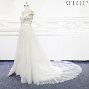 Image 2 - فساتين زفاف 2020 مصنوعة حسب الطلب Vestido De Noiva الأميرة خمر زينة مطرز الدانتيل الزفاف حجم كبير XF19117