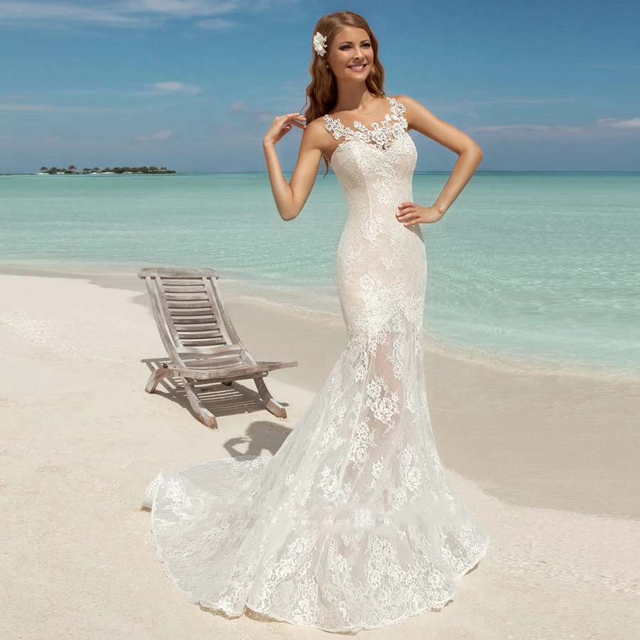 Chic Tulle Scoop Neckline Applique Mermaid Wedding Dress With Lace-up Illusion Button Back Lace Sweep Train Bridal Dress