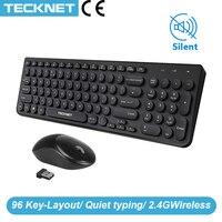 TeckNet Stille Tastatur Maus Combo Kit Drahtlose Tastatur Ergonomische Maus 96 Tasten Retro Runde Keycap Optische Maus für Laptop