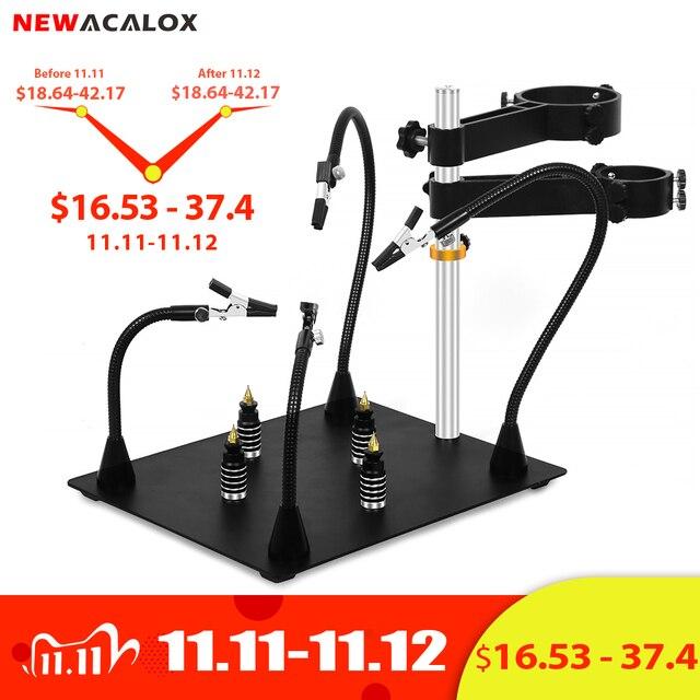 NEWACALOX Third Pana Hand Hot Air Gun Frame PCB Board Holder Heat Gun Stand Helping Hands Soldering Tool 3X LED Magnifying Glass