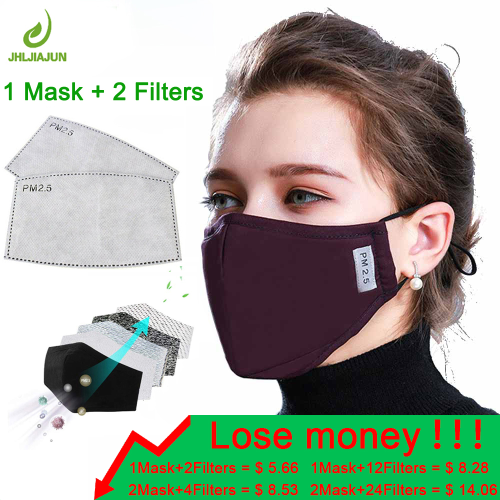 High Quality Men Women Cotton PM2.5 Mouth Mask Safe Anti-spray Masks Activated Carbon Filter Windproof Anti-dust Mask