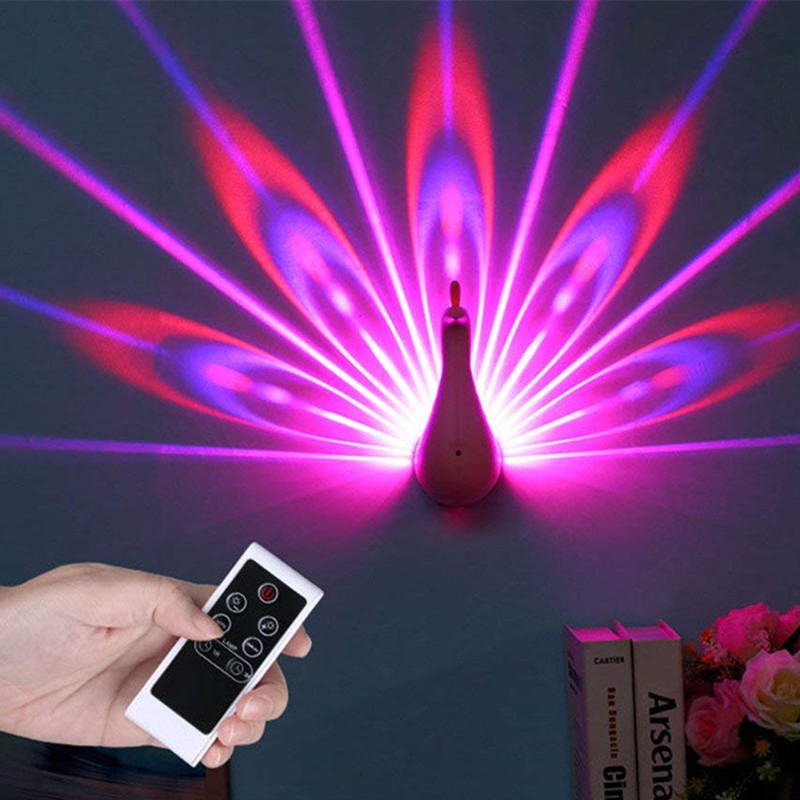 XYXP  Peacock Projector Lamp 7 Colors USB Rechargeable Peahen Wall Corridor Lights Kids Children LED Night Light For Room