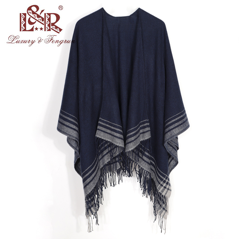 2019 Cashmere Winter Warm Ponchos And Capes For Women Foulard Femme Shawls And Wraps Stripped Pashmina Female Bufanda Mujer