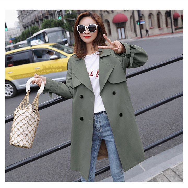 Turn-Down Collar Double-Breasted Long   Trench   Coat 2019 Autumn Women Solid Loose Windbreaker Loose Casual Outwear