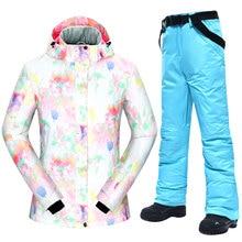 Pants Snowboarding-Suits Snow-Jacket Women-30 Skiing Waterproof Brands New Female