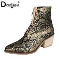 DORATASIA Autumn New Drop Ship 35 43 Printed lace up Booties Ladies High Heels Ankle Chelsea Boots Women 2019 OL Shoes Woman
