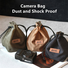 Portable Waterproof Camera Bag Canon Universal Drawstring Bags Hand Held Canvas Lens DSLR Bag for Nikon Sony Pentax Camera Case