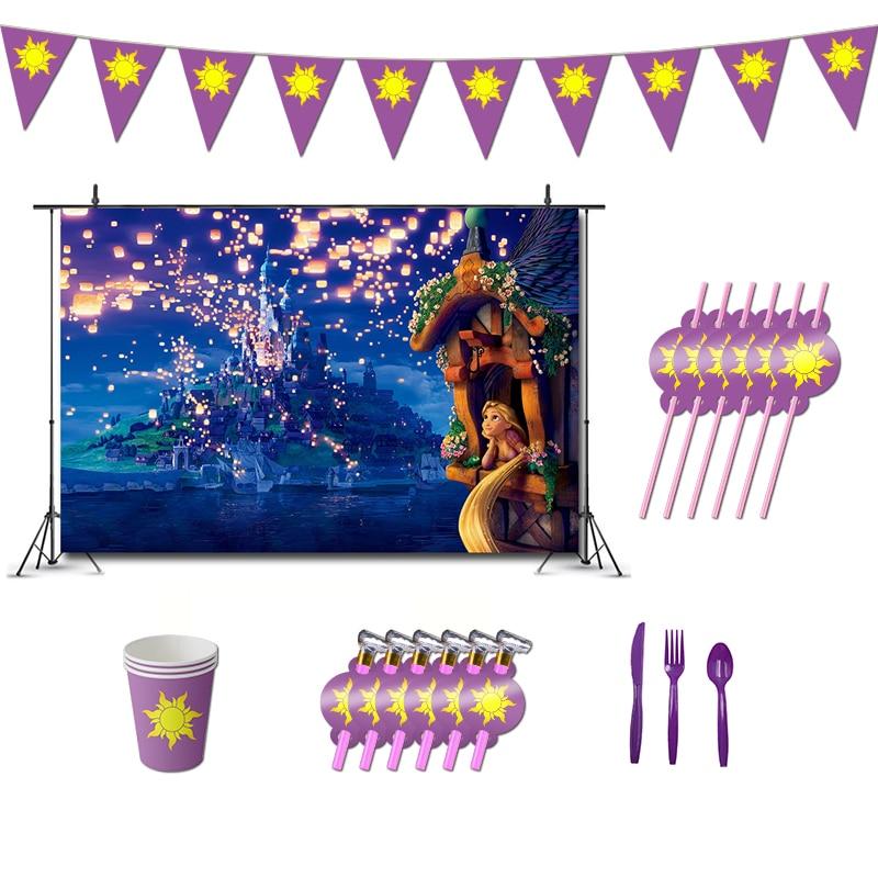 Путанные украшения для дня рождения, тематическая игра Рапунцель, поставки баннеров, чашек