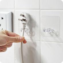 Gancho de almacenamiento de pared sin perforaciones, soporte de enchufe para cocina, percha adhesiva de pared para baño y sala de estar