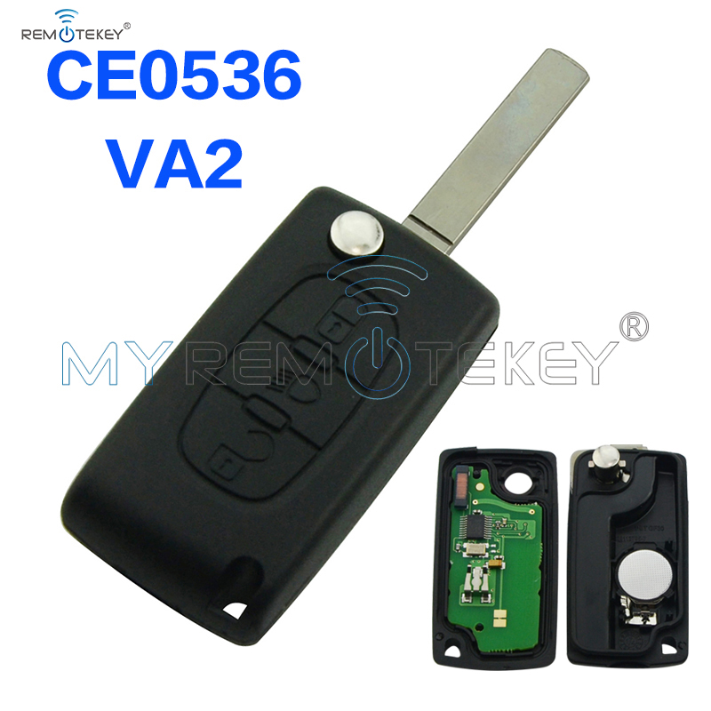 CE0536 Flip remote key 3 button with light button VA2 key blade 434mhz for Citroen Peugeot remtekey