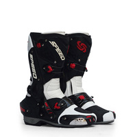 Men Motorcycle Boots PU Leather Motorsport Riding Racing Boots Motocross Off road Shoes Motorbike Bike SPEED Protective Gear