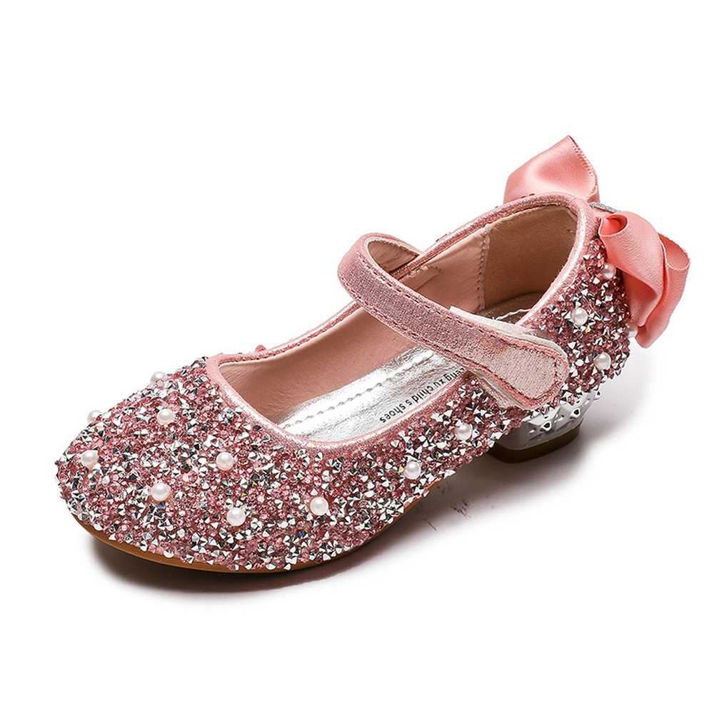 Children Girls Soft-Soled Leather Shoes Sequined Bling Fabric Kids Shoes Bowknot Wedding Party Dancing Princess Baby Girls Shoes