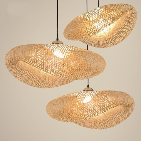 lampada pendente de bambu retro lampada suspensa com lampada pendente de madeira para cozinha sala