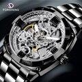 FORSINING мужские модные механические часы со скелетом повседневные спортивные водонепроницаемые мужские классические деловые наручные часы ...