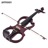 Hot sale ammoon VE 201 Full Size 4/4 Solid Wood Silent Electric Violin Fiddle Maple Body Ebony Fingerboard Pegs Chin Rest