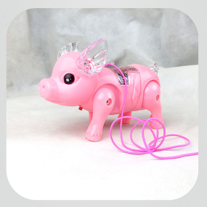 Leash Glow Walking Pig With Music Leashing Electric Pig Interactive Robots Dog Robot Funny Interactive Toy For Kids Pig Dog Toys