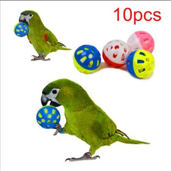 10pcs Pet Parrot Toy Colorful Hollow Rolling Bell Ball Bird Toy Parakeet Cockatiel Parrot Chew Cage Fun Toys
