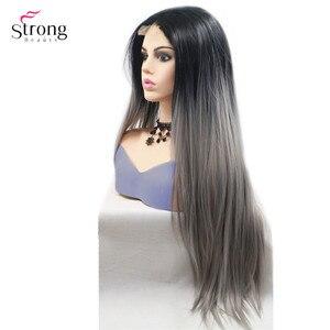 Image 1 - Strongbeauty peluca larga recta para mujer, pelo ombré negro/rojo, sintética, con encaje frontal