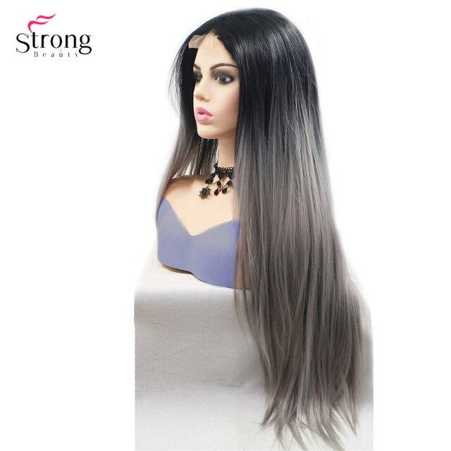 Strongbeauty peluca larga recta para mujer, pelo ombré negro/rojo, sintética, con encaje frontal