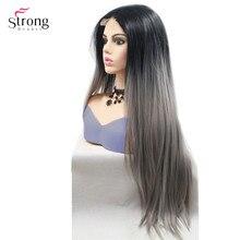 Strongbeauty uzun düz peruk ombre saç siyah/kırmızı sentetik dantel ön peruk kadın için