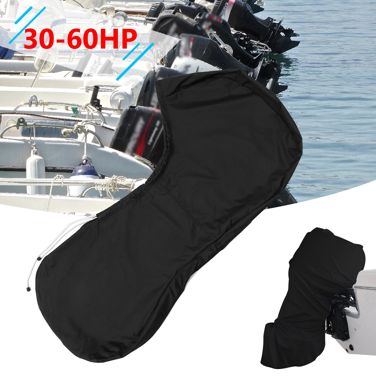 600D 30-60HP Black Boat Full Engine Cover Outboard Protector For 30-60 Hose Power Motor Waterproof