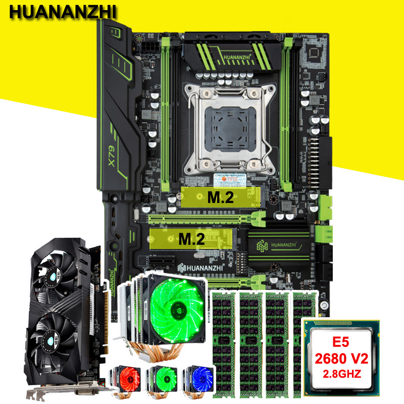 Brand new HUANANZHI X79 Pro motherboard with DUAL M.2 slot CPU Intel Xeon E5 <font><b>2680</b></font> V2 with cooler RAM 16G video card GTX1050Ti 4G image