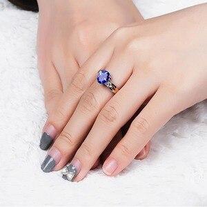 Image 5 - Cellпростые классические серебряные кольца 925 пробы, роскошные ювелирные изделия с овальным сапфиром, женский свадебный подарок с цирконием