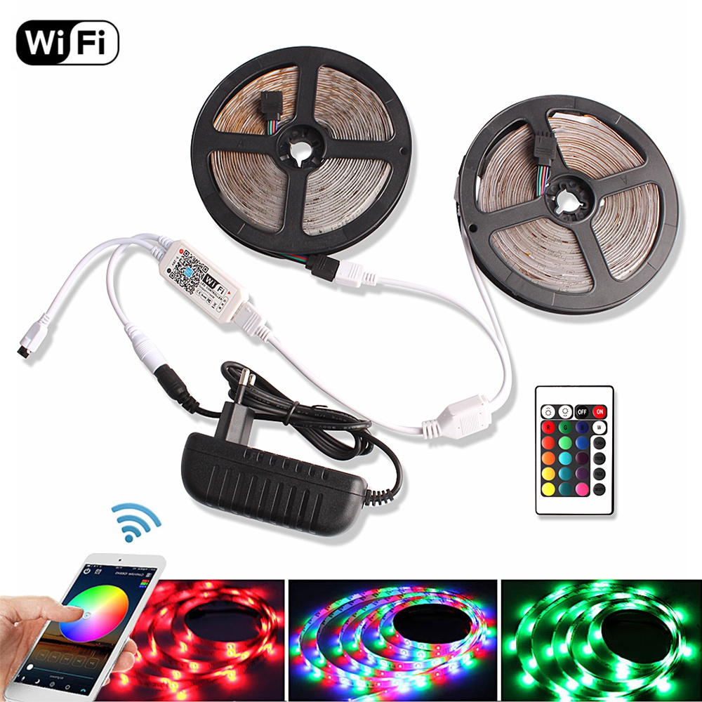 WiFi / Bluetooth RGB LED Strip Waterproof DC 12V 5m 10m 15m 2835 Diode Tape Flexible Ribbon Tira Fita LED Light Remote + Adapter