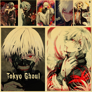 Hot Sale Tokyo Ghoul Anime Posters Kraft Paper Prints Clear Image Art Painting Bar Home Decoration Wall Decor Painting Modern