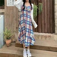 Echten Schuss Romantische Sommer Plaid Strumpf Kleid frauen langarm kleid