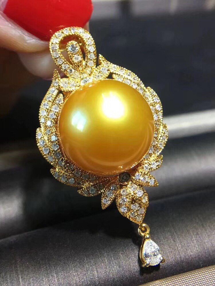D115 Fine Jewelry 925 Sterling Silver Natural Fresh Water Golden Pearl 13mm Pendants Necklaces For Women FIne Pearls Pendants