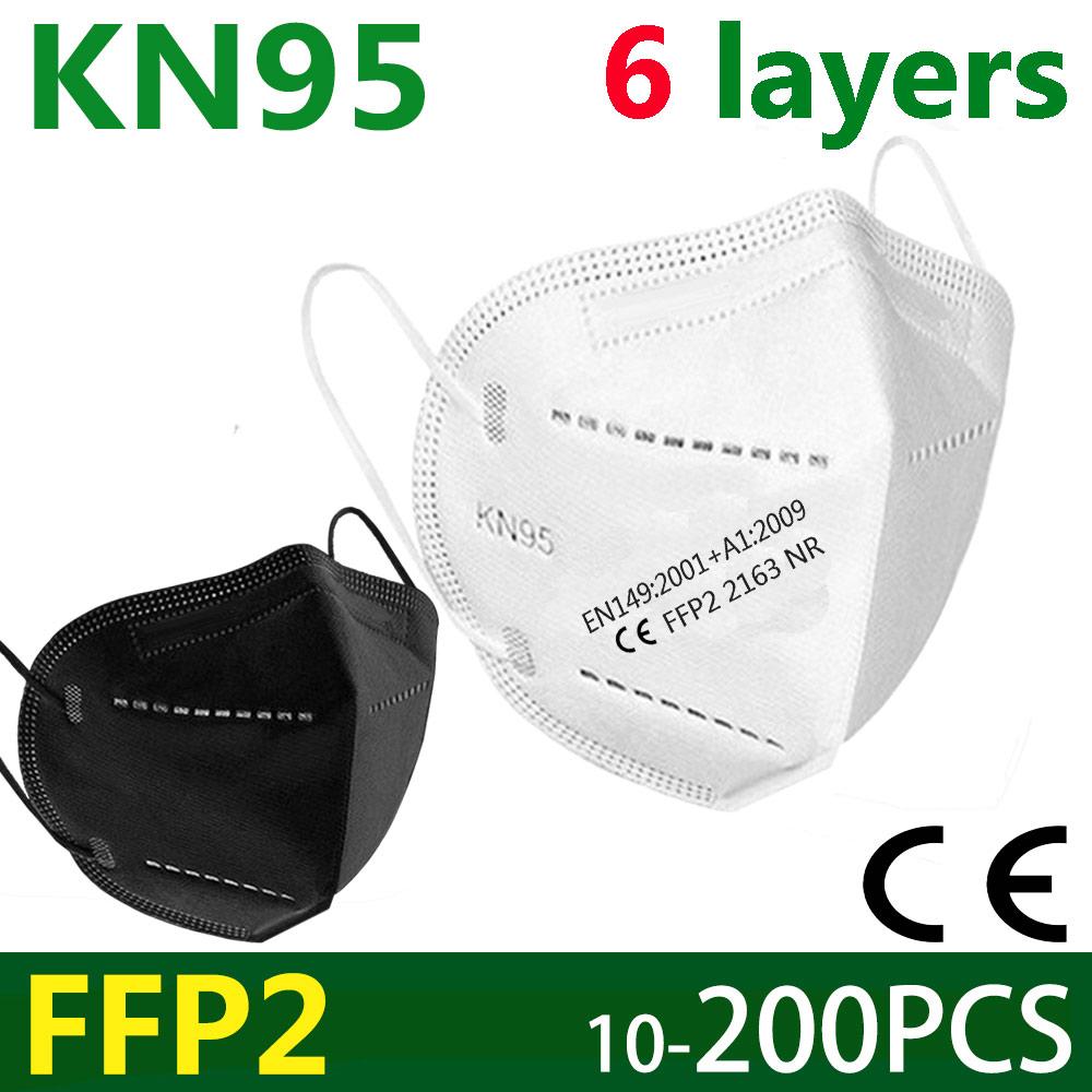 5-200 ffp2 masque facial KN95 masques faciaux 6 couches masques filtrants protéger maske bouche sécurité anti poussière masque de soins de santé norme ue