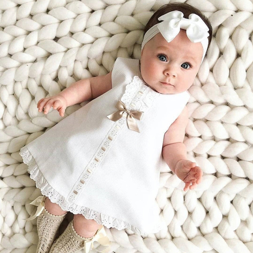 Bow Infant Baby Girls Flower Dresses Christening Gowns Newborn Babies Baptism Clothes Princess Birthday White Baby Girls Dress