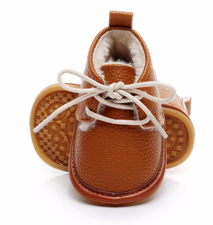Hot sell super warm PU leather with fur winter baby shoes lace up floral printing baby moccasins toddler girls boys snow boots image