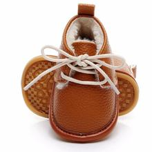 Hot sell super warm PU leather with fur winter baby shoes la
