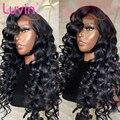 Luvin дешевые 26 28 30 34 36 38 40 дюймов свободные волнистые бесклеевые кружевные передние человеческие волосы парики для женщин Бразильский фронта...