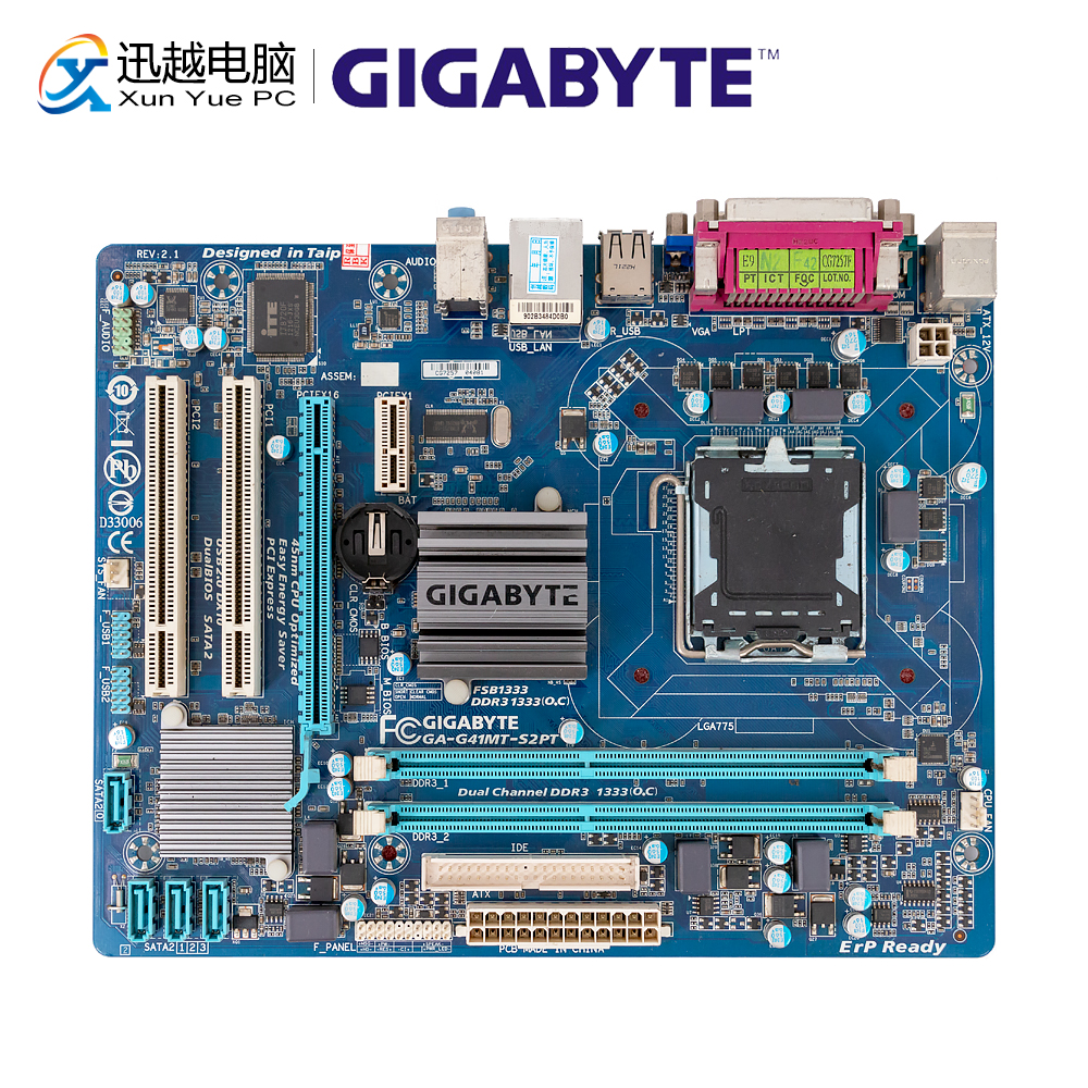 Gigabyte GA-G41MT-S2PT Desktop Motherboard G41MT-S2PT G41 LGA 775 DDR3 8G SATA2 USB2.0 VGA Micro-ATX Used Mainboard
