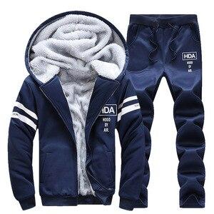 Image 3 - מזדמן גברים אימונית חורף שתי חתיכות סטי צמר עבה סלעית רוכסן מעיל + מכנסיים חם 2 PCS ספורט חליפת Sportswears m 4XL