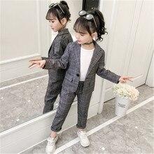 Teenage Girls Baby Girls Clothing Set Fashion Plaid Jackets +Pants Tracksuit School Uniform Girls Cl