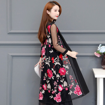 Embroidered Floral Cardigan Luxury Knitted 2020 Women Summer Long Black Cardigan Shawl Loose Thin Knit Outerwear 3/4 Sleeves 5XL black side pockets long sleeves outerwear