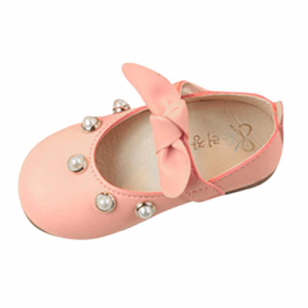 תינוקות ילדי תינוק בנות אלגנטי Bowknot פנינה אחת נסיכת נעליים יומיומיות פעוט בנות נעלי בנות נעלי עור 2019 Oct16