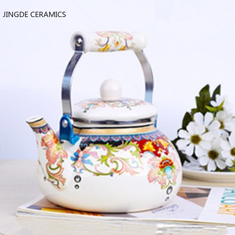Thickened flat-bottom pear-shaped enamel kettle kettle jug milk teapot home portable kitchen induction cooker universal