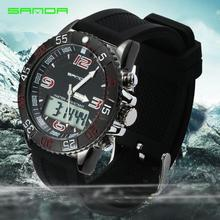 Sanda Men's Dual Display Outdoor Waterproof Sports Watch Mountaineering Waterproof Electronic Watch Male Student Multifunctional bistec 11927 dual movt male outdoor watch