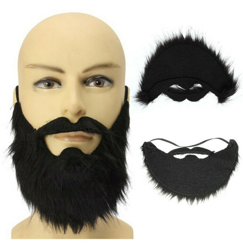 Mens Black Fake False Moustache Goatee Beard Hair Fancy Dress Costume Outfit