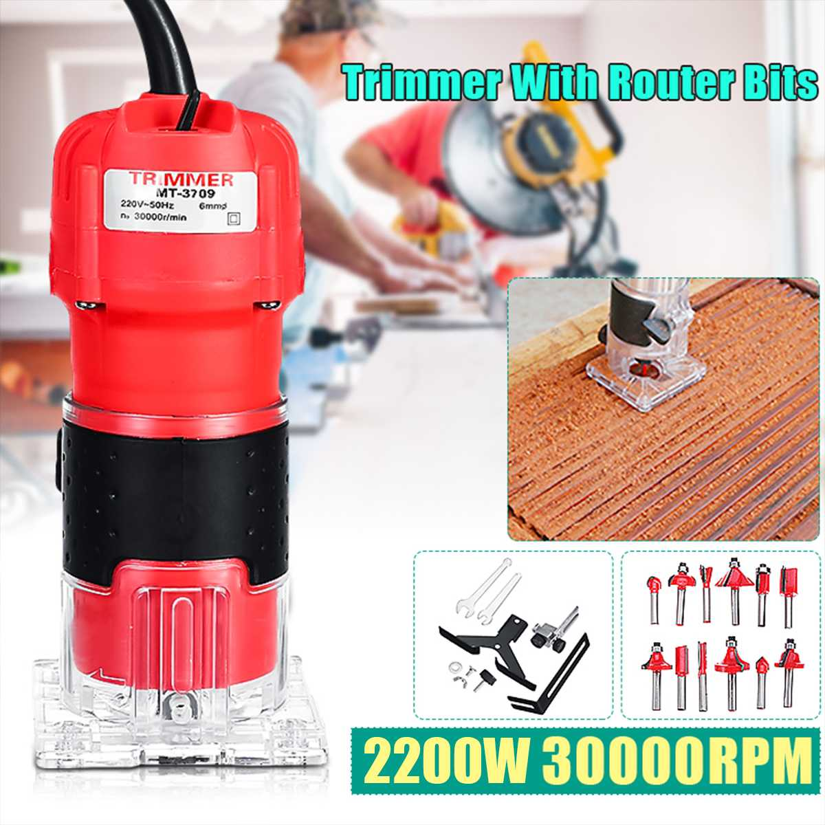 2200W Woodworking Electric Hand Trimmer Wood Router Joiners Carving Machine 12pc Router Bit Carving Milling Engraving Power Tool